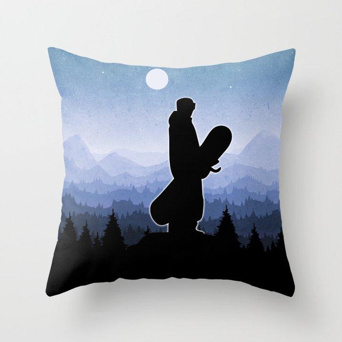 Snowboard Skyline Stand Throw Pillow