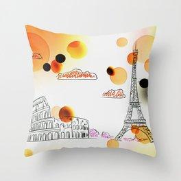 Sketch travel Throw Pillow
