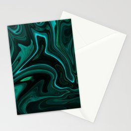 Teal Liquefy Pattern Stationery Cards