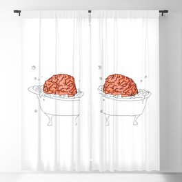 Brain Bath - chill out time, hot tub, soap bubbles, funny, cute humor, drawing, clear simple lines Blackout Curtain