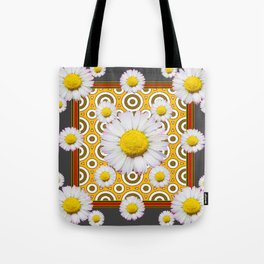 Charcoal Grey White Shasta  Daisy Patterns Brown Art Tote Bag