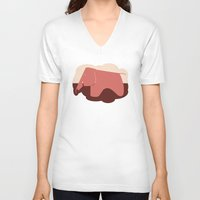 eames V-neck T-shirts featuring Eames Elephant by MoMo