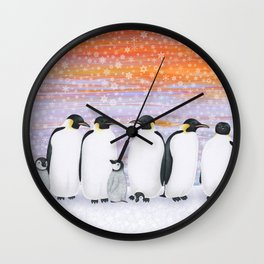 emperor penguins and chicks winter sunset Wall Clock