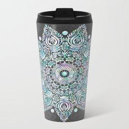 Mermaid Mandala on Deep Gray Metal Travel Mug