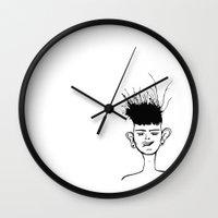 jay fleck Wall Clocks featuring Jay by Ivana Quesada
