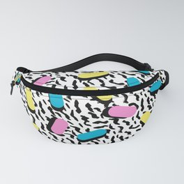Poppin - memphis throwback retro 1980s 80s style classic trendy hipster pattern bright neon dorm Fanny Pack