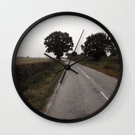misty road in derbyshire Wall Clock