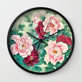 Light pink and purple peonies Wall Clock
