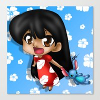 lilo and stitch Canvas Prints featuring Lilo and Stitch (chibi) by HaruShadows
