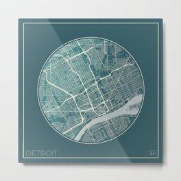Detroit Map Planet Metal Print