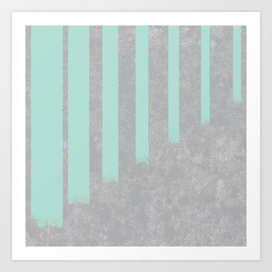 Soft cyan stripes on concrete Art Print