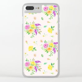 Watercolor Rose Pattern Clear iPhone Case