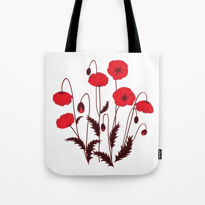 Bright floral pattern on a white background with decorative elements. Tote Bag
