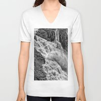 geology V-neck T-shirts featuring Black and White Beautiful Waterfall by Wendy Townrow