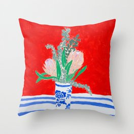 Protea Still Life in Red and Delft Blue Throw Pillow