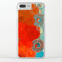 Turquoise and Red Swirls Clear iPhone Case