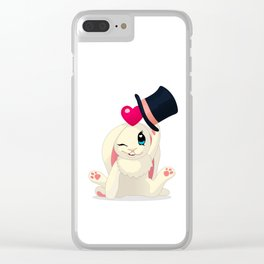 cute cartoon Funny Bunny with topper Clear iPhone Case