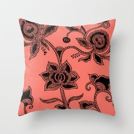 Vintage Floral Peach Echo Throw Pillow