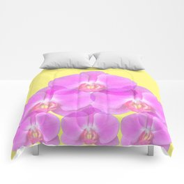 TROPICAL PINK ORCHIDS & YELLOW FLORAL ABSTRACT Comforters