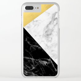 Marble & Gold Collage Clear iPhone Case