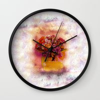 flora Wall Clocks featuring Flora  by Music of the Heart