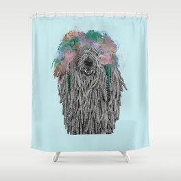 Dredlock Dog (Pastel Blue Edition) Shower Curtain