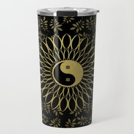 'Yin Yang Golden Daisy' Gold Black mandala Travel Mug