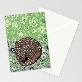pangolin mandala leaf Stationery Cards
