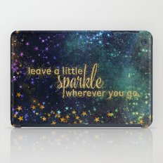 Leave a little sparkle wherever you go - gold glitter Typography on dark space backround iPad Case