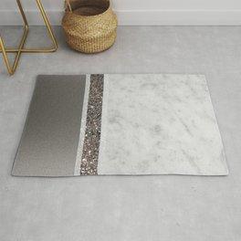 White Marble Silver Glitter Stripe Glam #1 #minimal #decor #art #society6 Rug