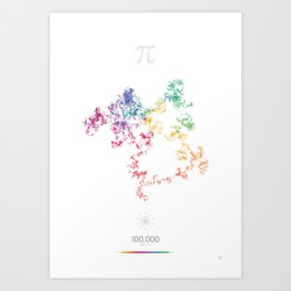 The Art in Pi - 10,000 digits walk Art Print