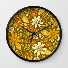 1970s Retro Flowers Pattern in Yellow, Orange & Olive Green Wall Clock