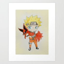 Young Naruto and Nine tails Art Print