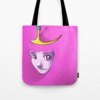 princess bubblegum Tote Bags featuring Bubblegum by RakiParra
