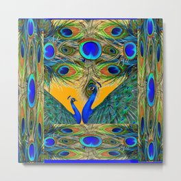 BLUE PEACOCKS  GOLDEN FEATHER DESIGN PATTERNS GN Metal Print