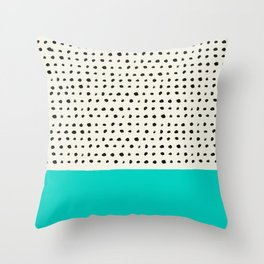 Aqua x Dots Throw Pillow