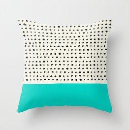 Aqua x Dots Throw Pillow