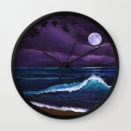 Romantic Kauai Moonlight Wall Clock