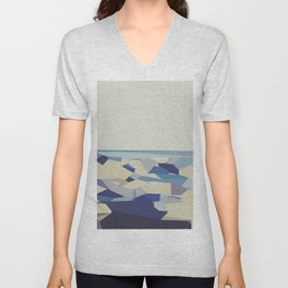 blue purple and dark blue abstract background Unisex V-Neck
