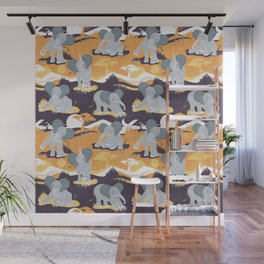 Baby African elephants joy night and day // yellow mustard Wall Mural