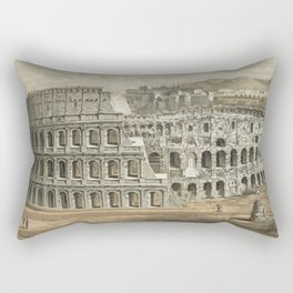 Vintage Illustration of The Roman Colosseum (1872) Rectangular Pillow