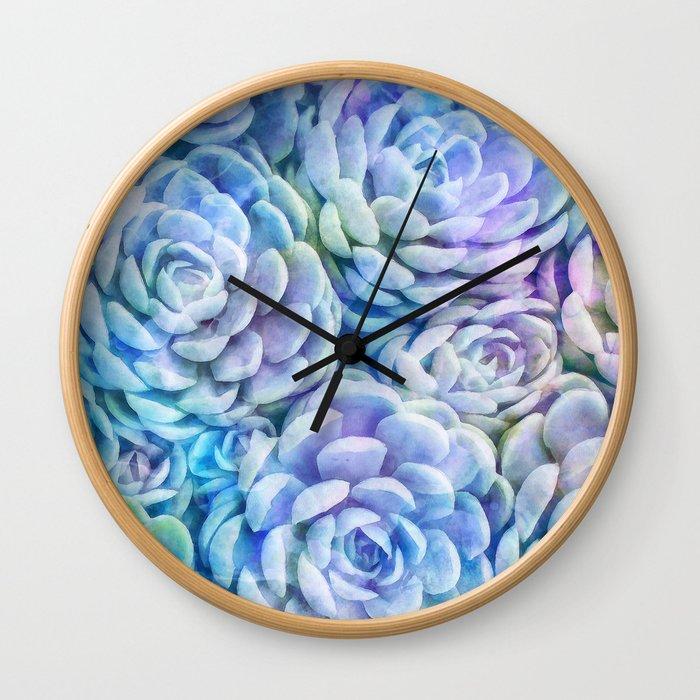 Rainbow succulents Wall Clock