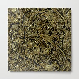 Black and gold ethnic paisley pattern Metal Print