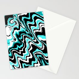 Blue liquified,marble effect decor Stationery Cards