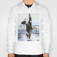 marine Hoodies featuring Marine Star by Jeff Moser Watercolorist