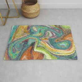 Turquoise, Copper, Gold, Green, Mosaic Design Rug