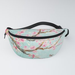 Its All Over Again - Romantic Spring Cherry Blossom Butterfly Illustration on Teal Watercolor Fanny Pack