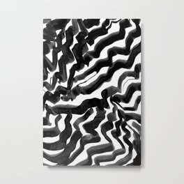 Bold Ink Stripes in Black and White Metal Print