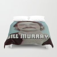 bill murray Duvet Covers featuring Bill Murray Vintage VHS Quality  by Spyck