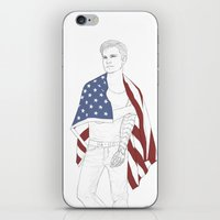 bucky barnes iPhone & iPod Skins featuring Bucky Barnes by E Cairns Art